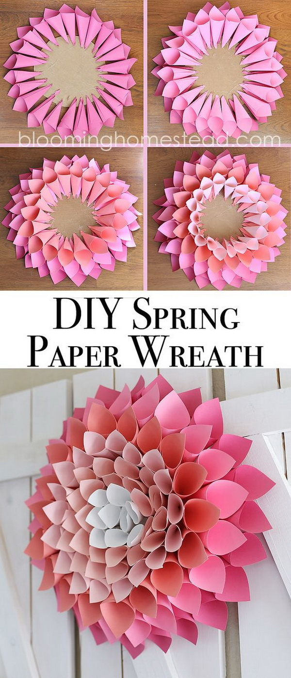 DIY Spring Paper Wreath. A fun way to brighten up your home or front door with this DIY spring paper flower wreath!