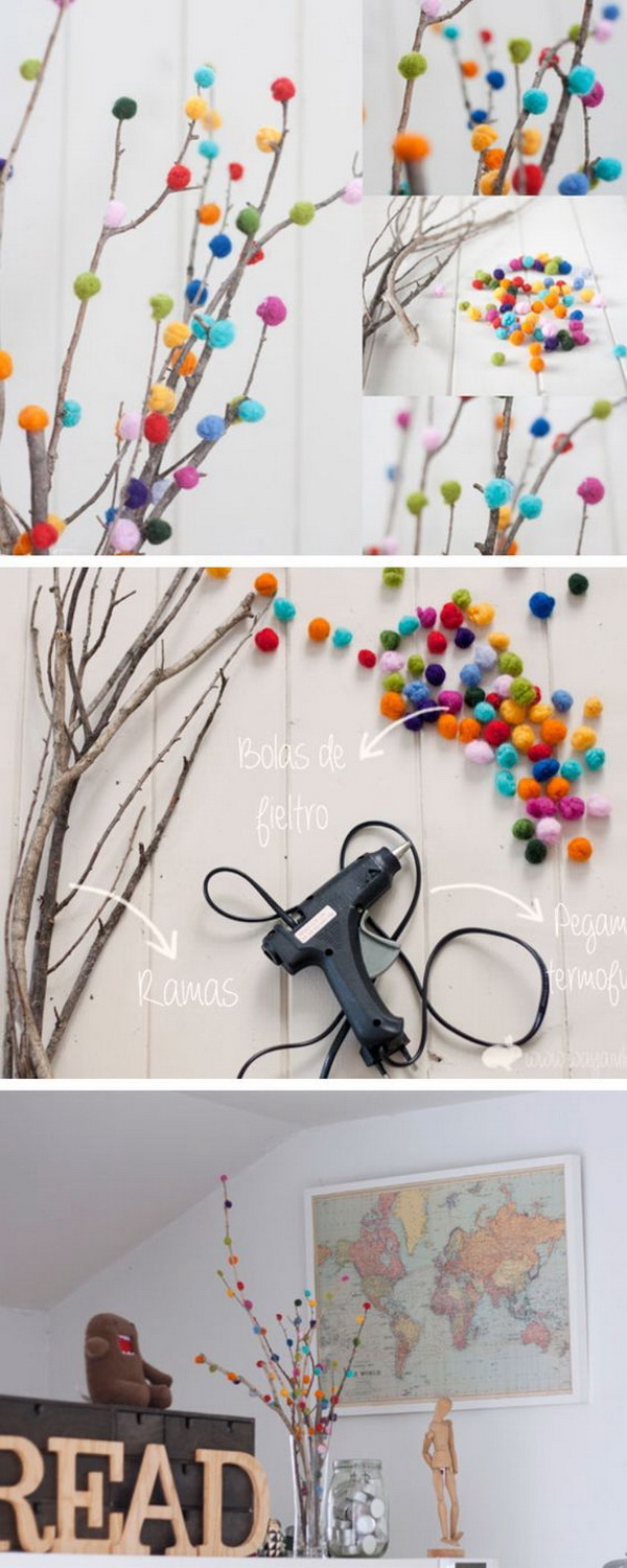 DIY Pom Pom Tree for Spring Decoration. These pom pom trees are a fun craft project for the kids to create for this spring decoration.