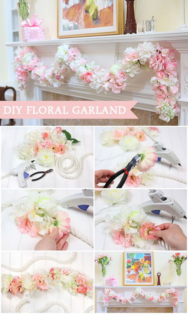 DIY Floral Garland Decor. This garland is made of silk flowers. It is a wonderful craft for your spring home decoration that can be used for years and years.