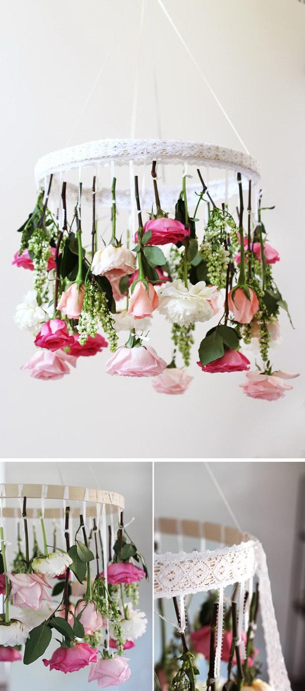 DIY Hanging Flower Chandelier. Whip up a  gorgeous chandelier with the spring fresh flowers to celebrate spring! It is not only great for spring home decoration, but perfect for wedding decoration.