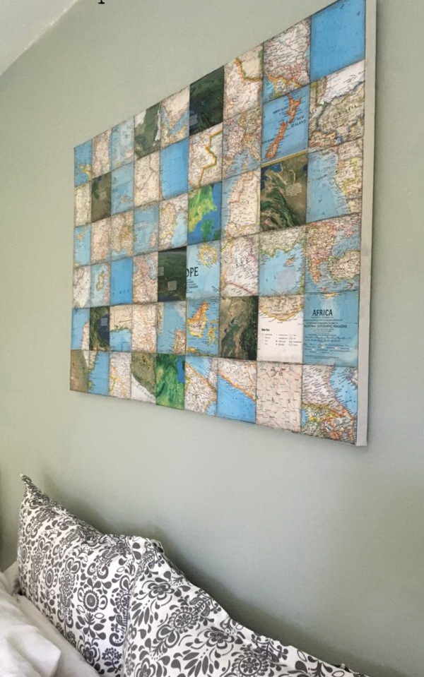 World Map Art Collage On Canvas. Create this framed piece of artwork with old world maps for your wall decor in no time! It must do wonders for your living room or study room.