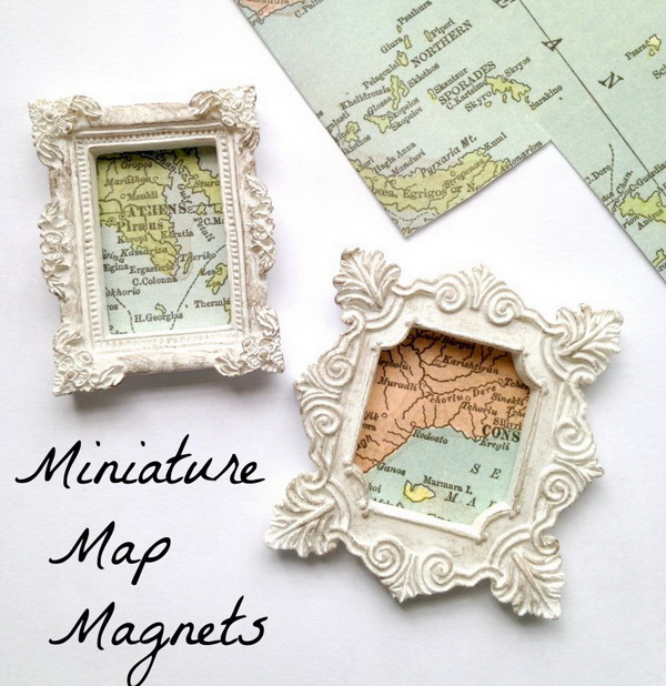 Miniature Map Magnets. These miniature map magnets are great for DIY Travel Keepsakes or used as DIY gifts for your friends.