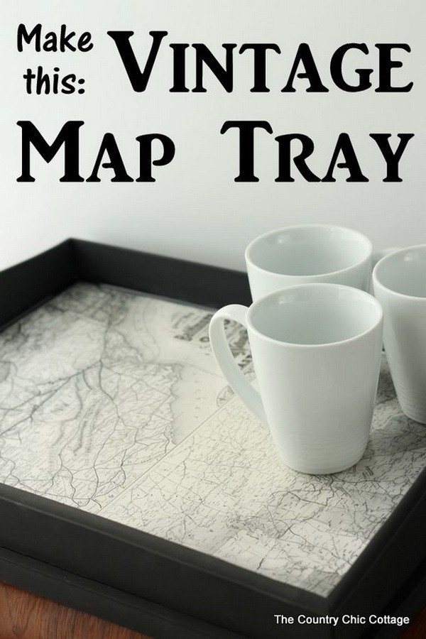 Vintage Map Lined Tray. Turn a thrift store tray into a gorgeous tray with vintage maps. It is perfect for serving up drinks, food, and more.