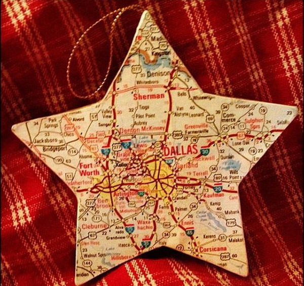 DIY Christmas Ornament. Make a star shaped ornament using a map of the state or country you grew up in, favorite vacation spot, town you got married, etc.....great as a gift!