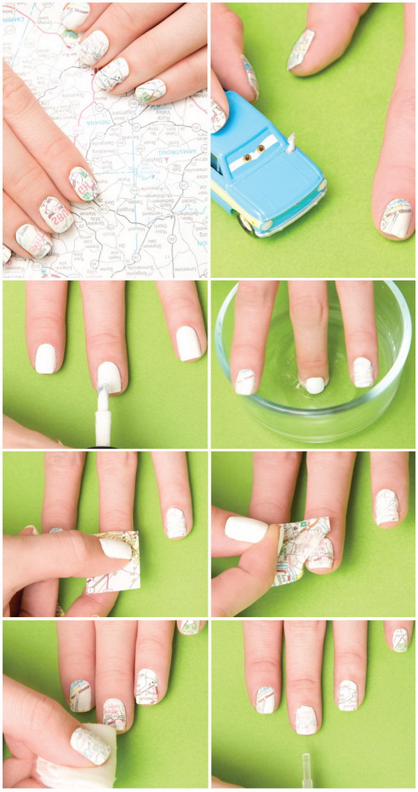 DIY Map Nail Transfers.