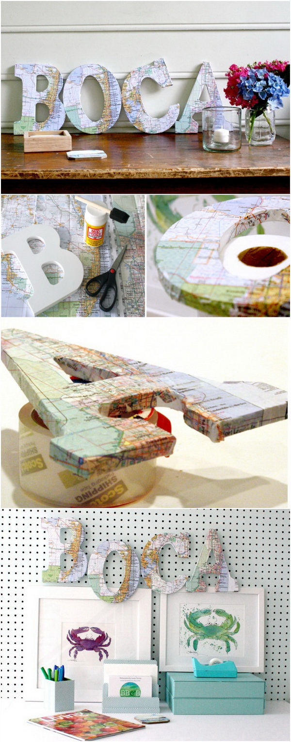 DIY Map Decorative Letters. Use standing wood letters and printed maps to create worldly decor. It is  the perfect centerpiece for a world-themed party or your home decor.