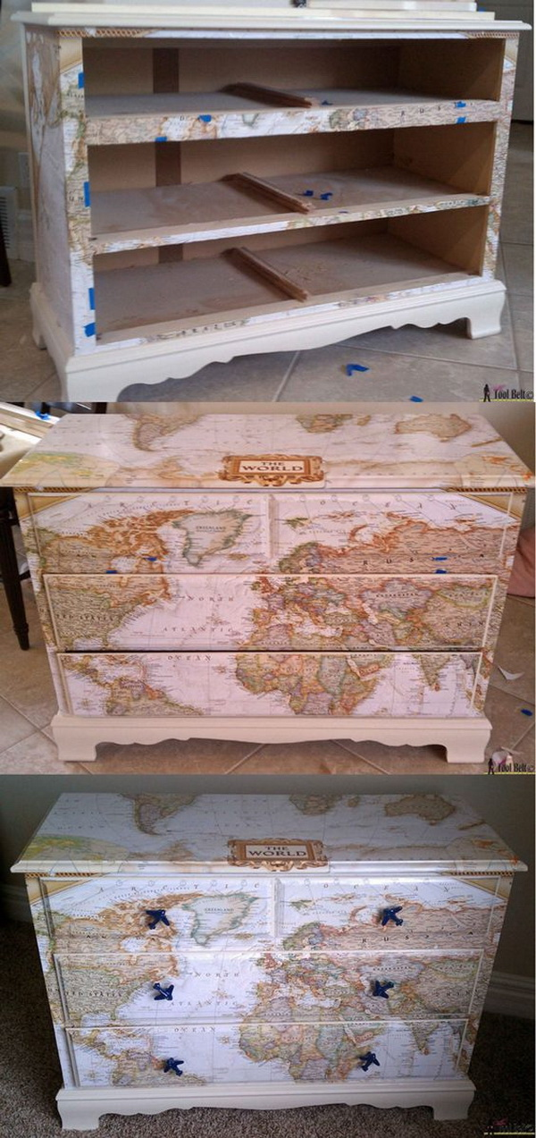 Map Transfered Dresser. Transfer your old dresser into a stunning piece of funiture with maps!