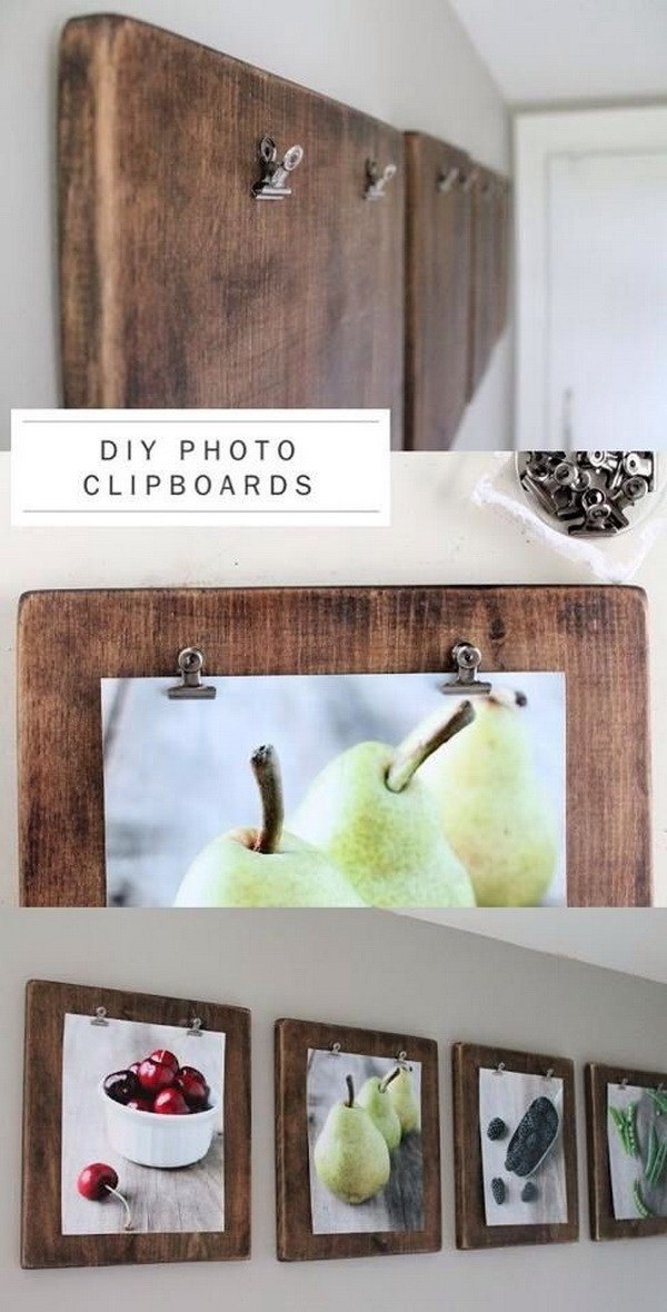 DIY Photo Clipboards. Make a gallary of photo clipboards and hang it on the wall. Low budget with high impact DIY project for your home decor!