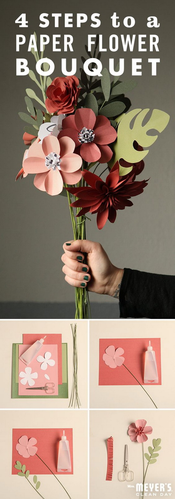DIY Paper Flower Bouquet. Paper flowers are fun and easy to make, lovely for everyday decor or special occasions, and last as long as you'd like. Make a collection of these bright paper flowers and display them in vases as centerpieces. You can easily customize them with different color palette to suit your decor.