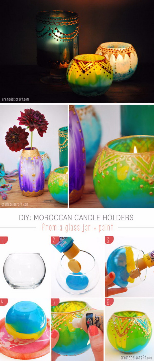 DIY Moroccan Candle Holders. Candles give a warm glow, set a romantic and festival mood. Homemade Moroccan lanterns are an attractive and inexpensive addition to a themed home makeover. Get some glass candle holders from the dollar store or recycle your own jars and transform them into these warm and vibrant candle holders for your Moroccan themed home decor.