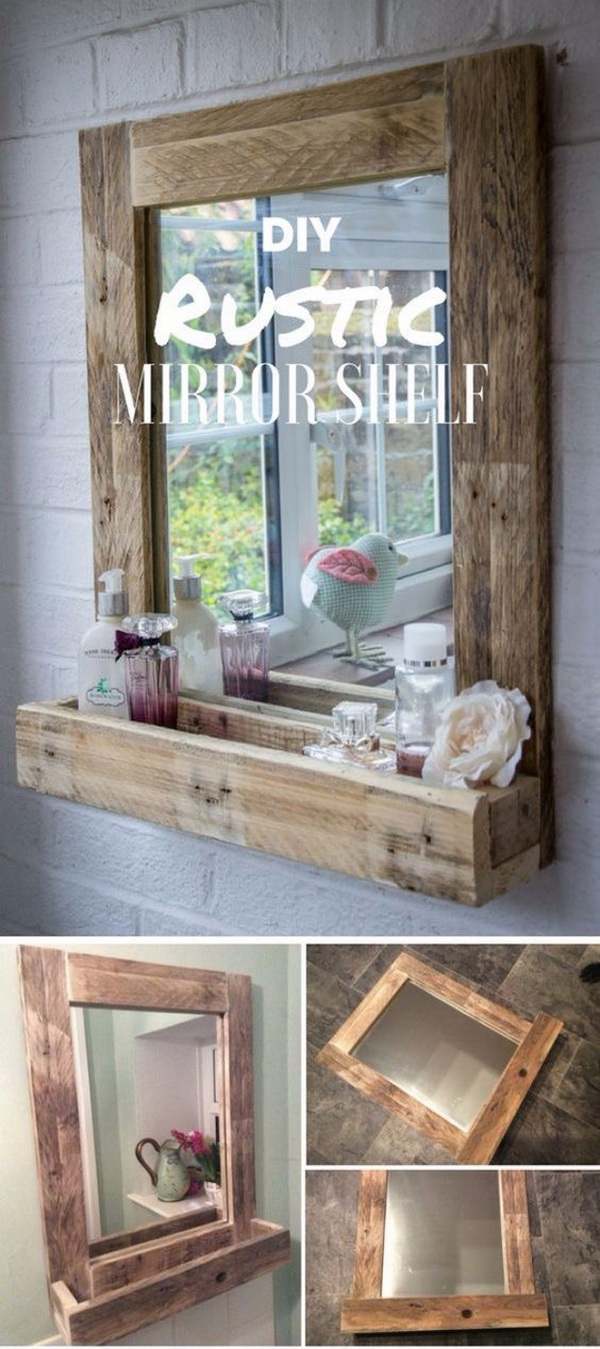 Rustic Bathroom Mirror with Storage Shelf. Make this simple rustic mirror with storage shelf for your bathroom. It is easy to build and provides a lot of storage for small things!