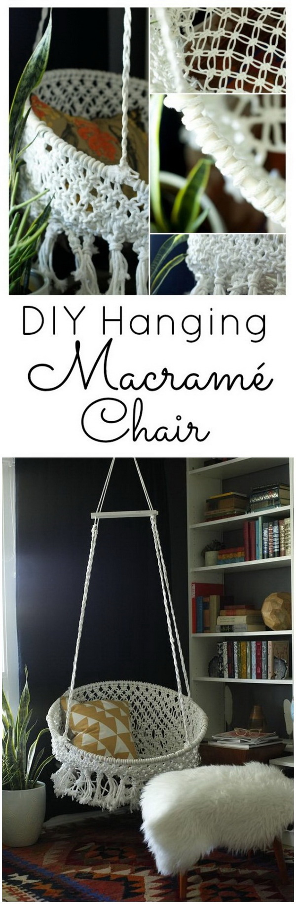 DIY Hanging Macramé Chair. Make a macramé chair with only a few different materials and also three different kinds of knots!