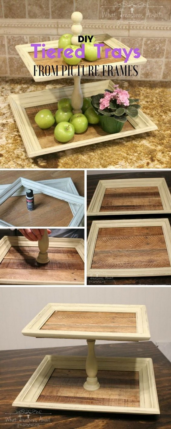 Tiered Serving Trays from Picture Frames. A creative way to reuse vintage picture frames into this interesting and classic three-tiered serving trays for your kitchen! You can also make it as frugal gifts for friends and family.