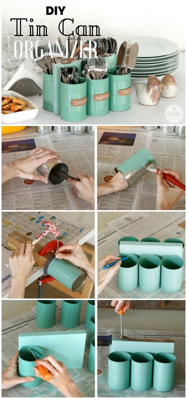 DIY Tin Can Utensil Organizer. Tin cans are easy to find at home. Get some tin cans and transfer them into this creative storage containers for your kitchen.