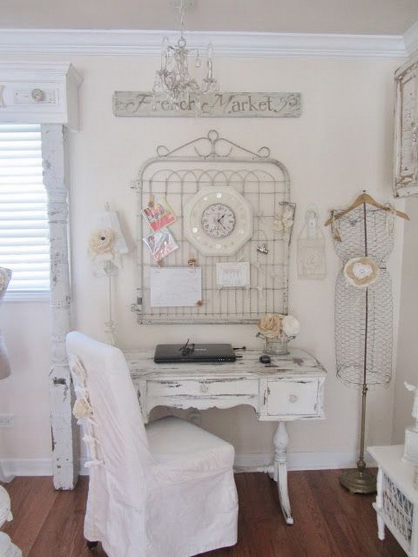 Yummy vintage whites, romantic farmhouse cottage style workplace.