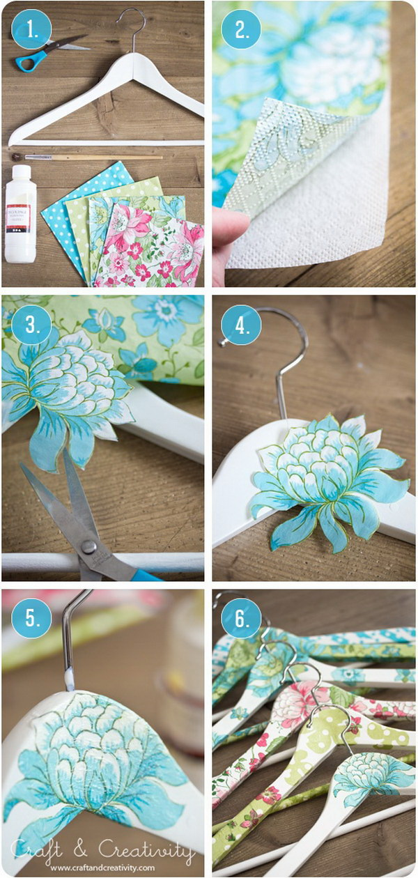DIY Decoupage Clothes Hangers.