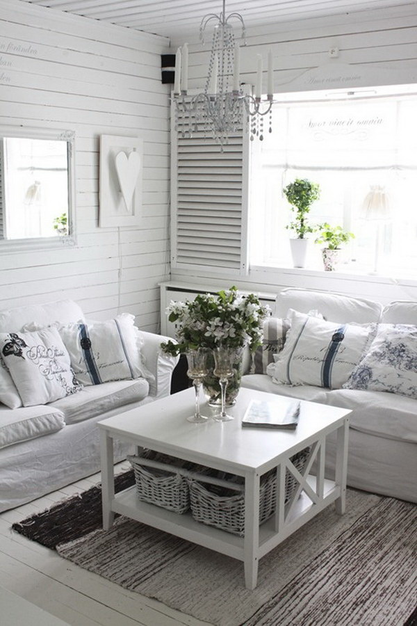 Pretty vintage white and grey shabby chic decorating idea.