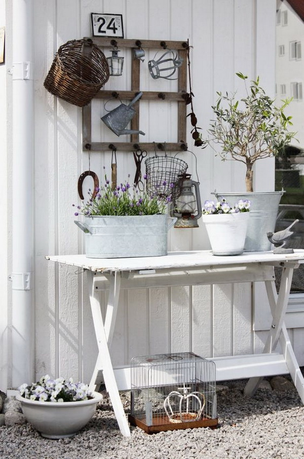 Shabby chic table, entryway.