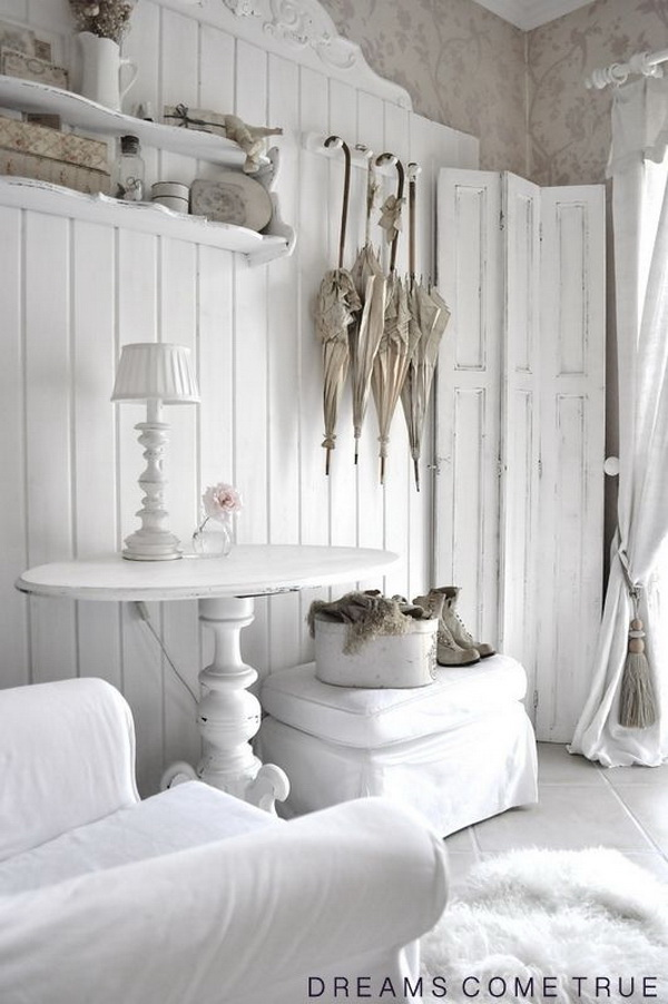 Vintage white painted doors and furniture for shabby chic looking.