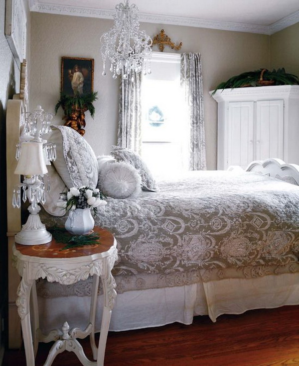 Lacy shabby chic bedroom.