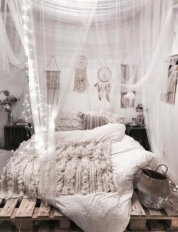 Antique white and grey shabby chic bedroom. Sring lights, handmade dreamcatchers....for decoration.