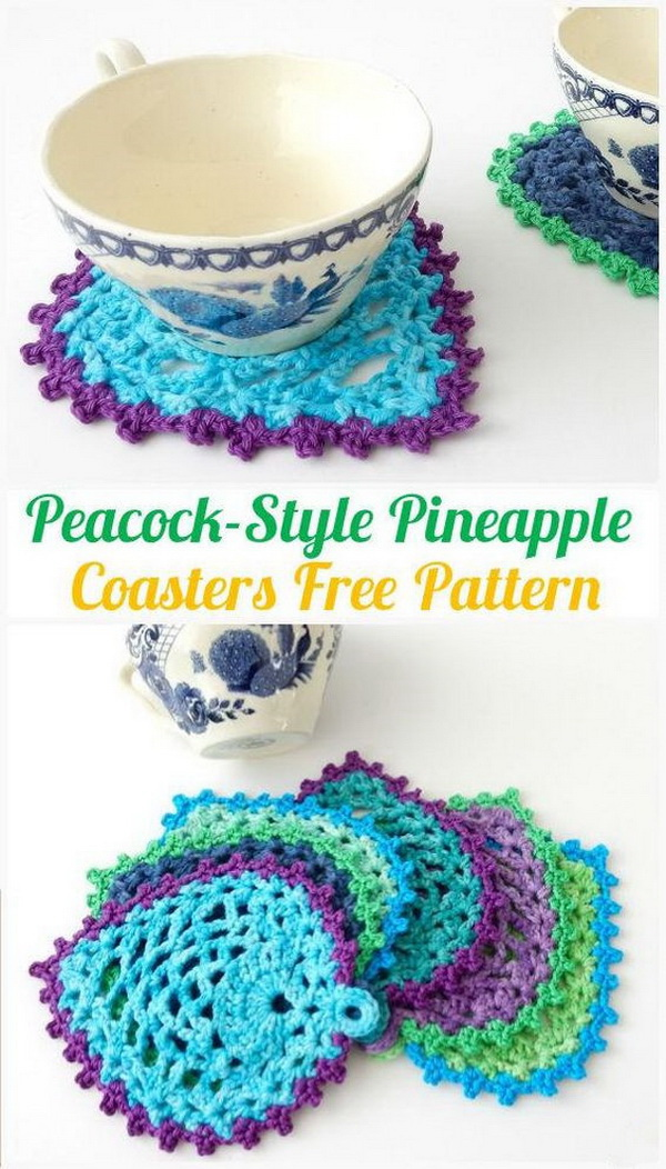 Crochet Peacock Style Pineapple Coasters. If you're looking for a fun weekend crochet project to start with, these coasters are just for you. It is really easy to make and work up quite quickly!