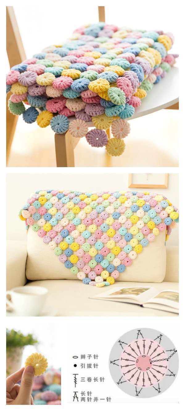 Crochet Macaron Blanket. Great crochet project in any home and makes a great gift!