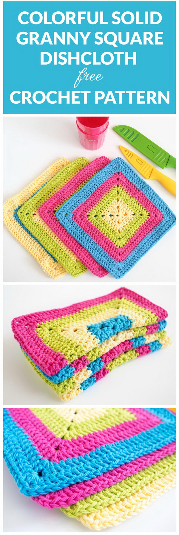 Colorful Solid Crochet Granny Square Dishcloth. Crochet dishcloth pattern is a fun way to use up scrap yarn and dress up your kitchen at the same time! These colorful solid crochet granny square dishclothes are  perfect for beginners. It will not only be a fun way to get your dishes clean, but also add much more charm to your kitchen.