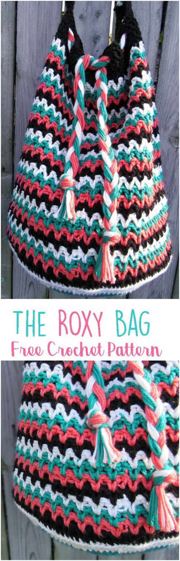 Crochet Roxy Bag. The Roxy bag is a large spacious bag that is perfect for every day use. It has a pull-tie enclosure which makes for easy access of items in the bag.