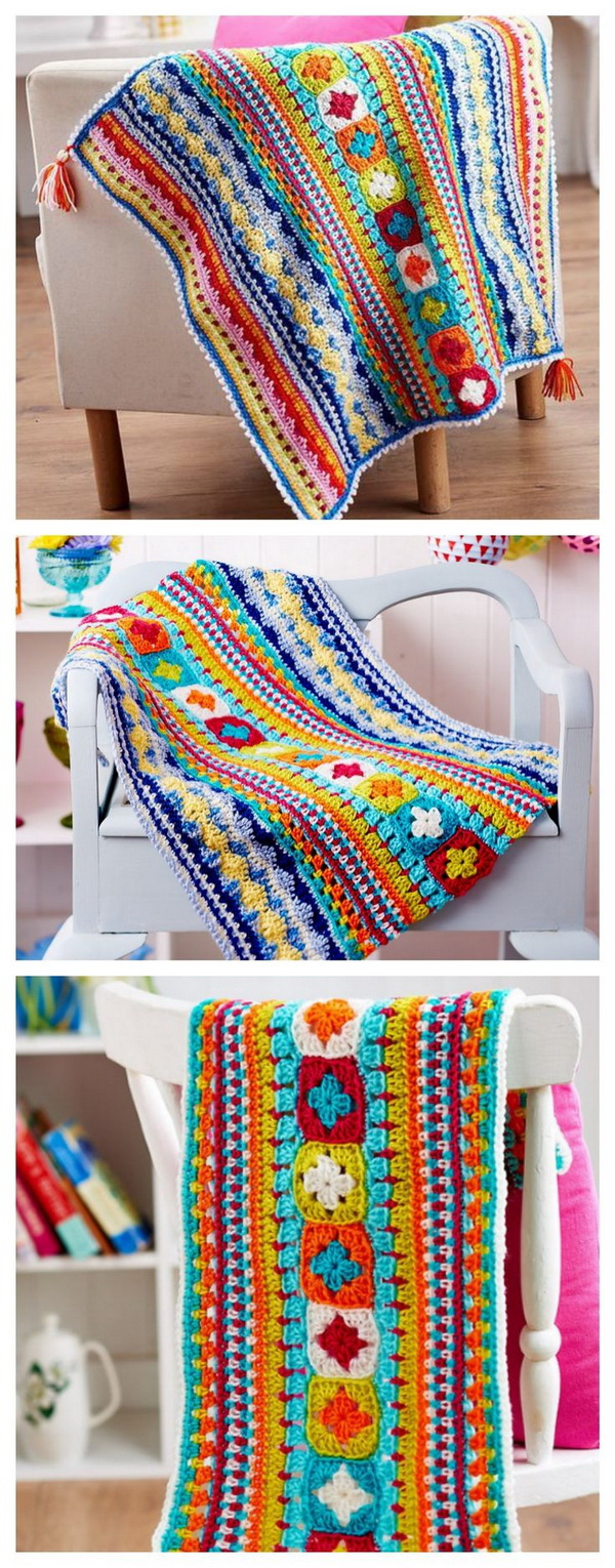 Crochet Blanket. Another great pattern for crochet blanket! This colorful crochet blanket is wonderfully warm and cozy, great for using as a play mat for babies or as a throw blanket in the living room.