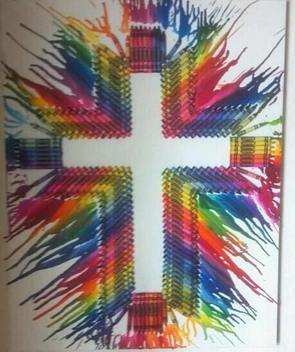 Fantastic Melted Crayon Cross Craft.