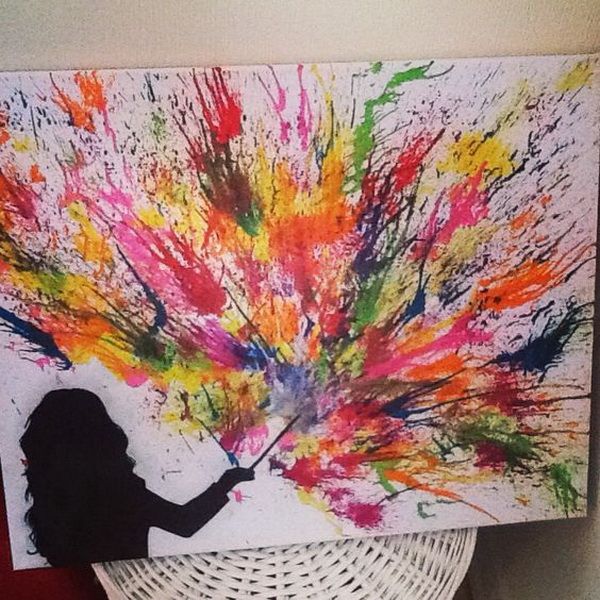 Sponge Painting and Fireworks. Fantastic Melted Crayon Art Ideas.