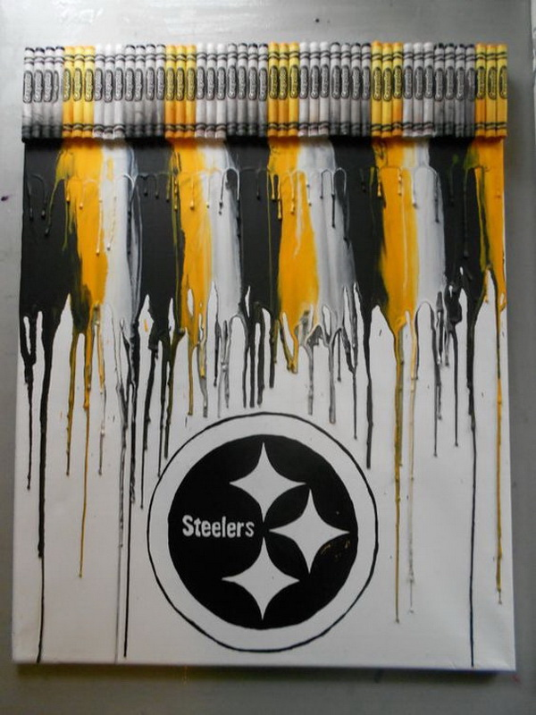 Pittsburgh Steelers Melted Crayon Painting.
