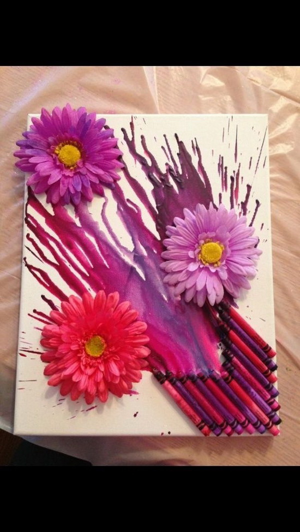 Melted Crayon Canvas Art.