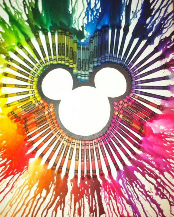 Mickey Mouse Melted Crayon Art.