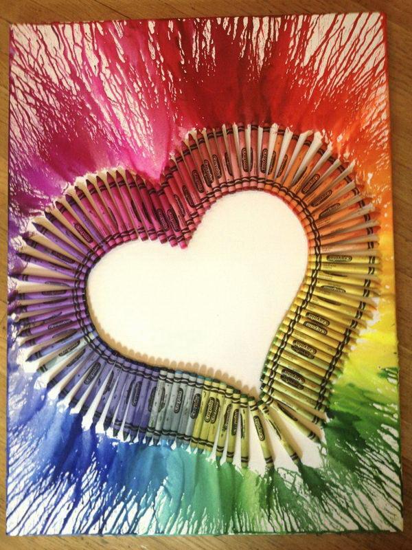 Heart, Melted Crayon Art. Fantastic Melted Crayon Art Ideas.