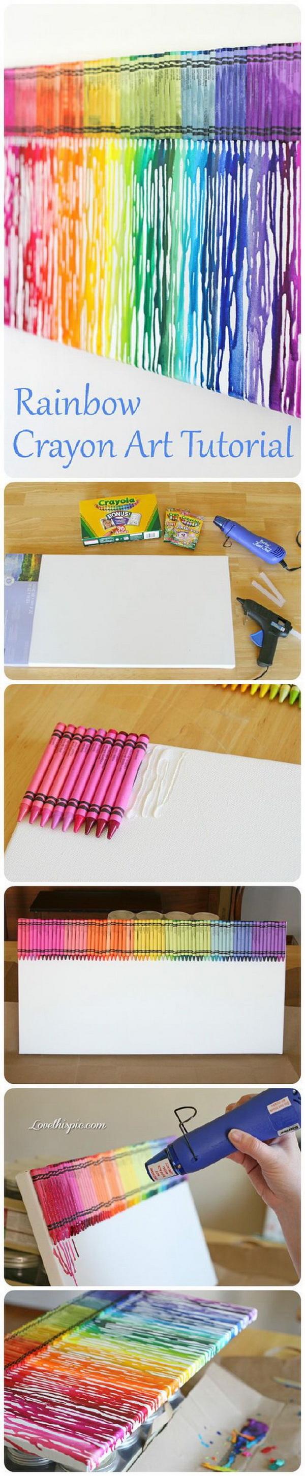 Rainbow Crayon Melting Art. Fantastic Melted Crayon Art Ideas.