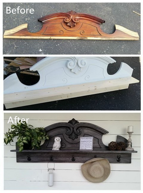 DIY Furniture Makeovers: Repurposed Hutch Top Into A Coat Rack Shelf.