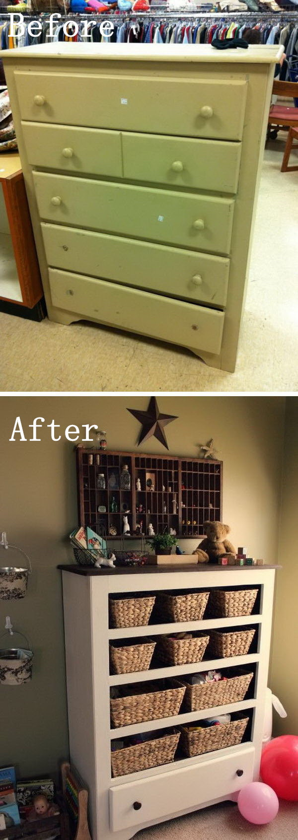 DIY Furniture Makeovers: Thrift Store Drawer Repurposed into Funny Functional Storage.