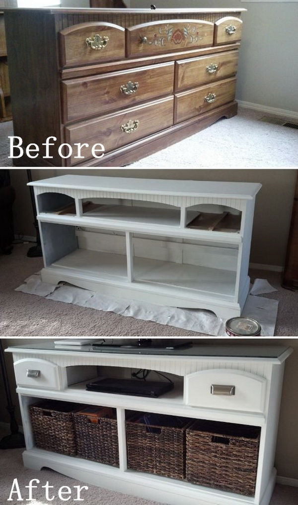 Diy Furniture Makeovers Old Look Tv Stand Before And After Makeover