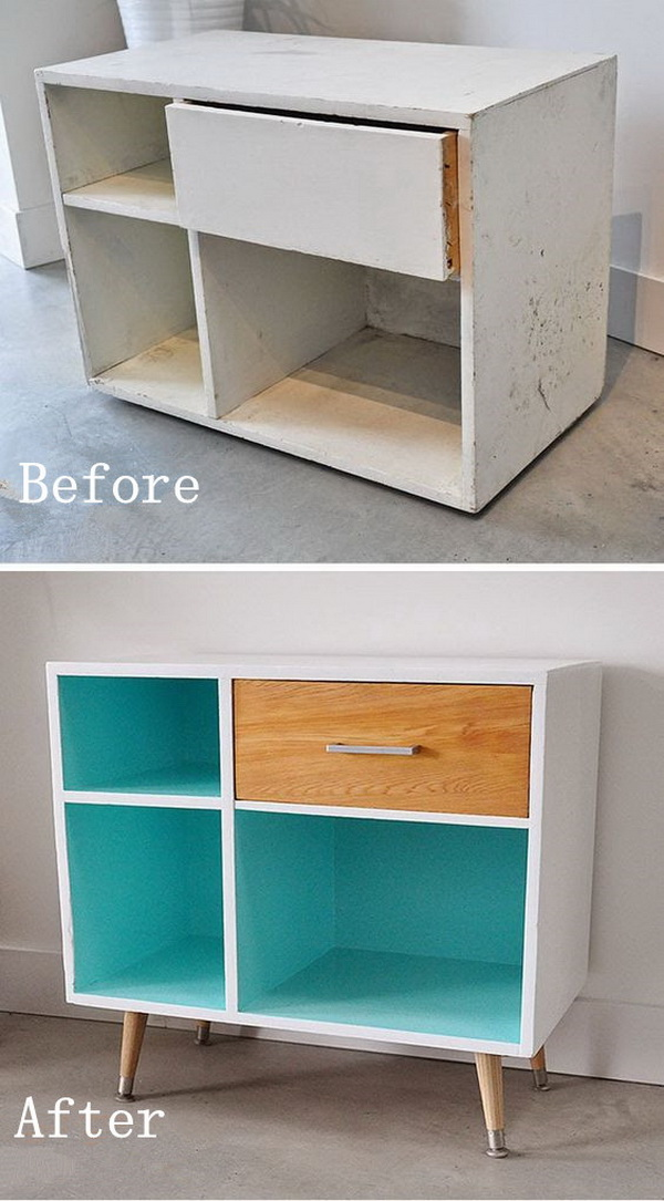 DIY Furniture Makeovers: Side Table Redo with Mid Century Modern Style.