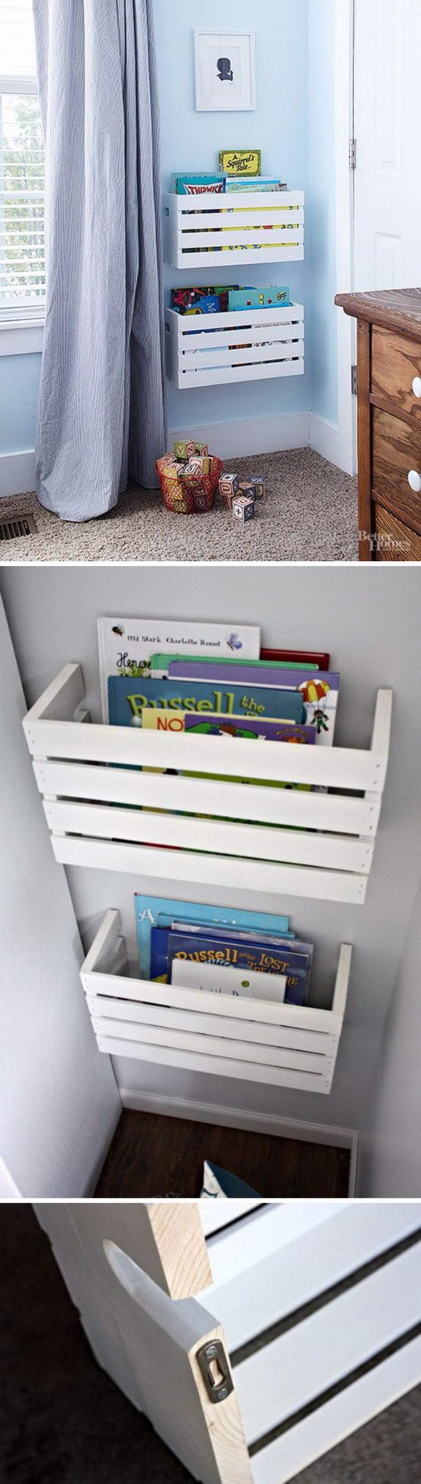 DIY Furniture Makeovers: Wall Mounted Crate Book Storage Shelves.
