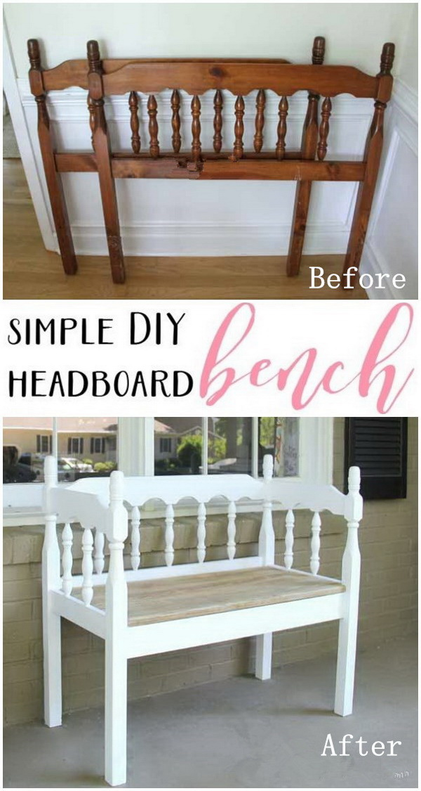 DIY Furniture Makeovers: DIY Headboard Bench.