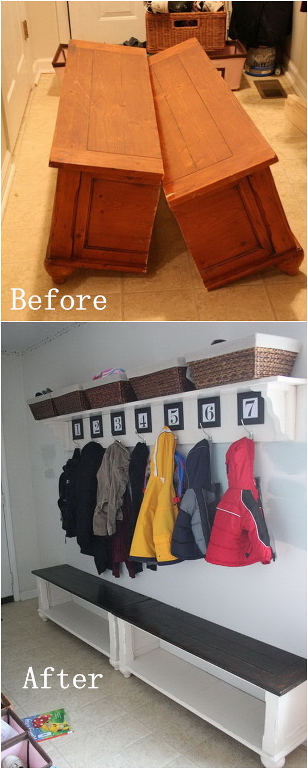 DIY Furniture Makeovers: From an Old Coffee Table to a Mudroom Bench.