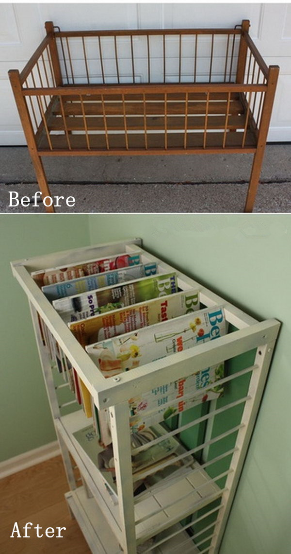 Diy Furniture Makeovers From A Small Crib To Stylish Magazine Rack