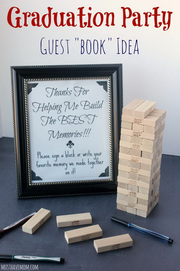 Graduation Party Guest Book. Get this unique and amazing guest book for the celebration party of your graduation. These are wooden blocks of rectangular shape on which the guest would sign and write some encouraging messages for the grad.