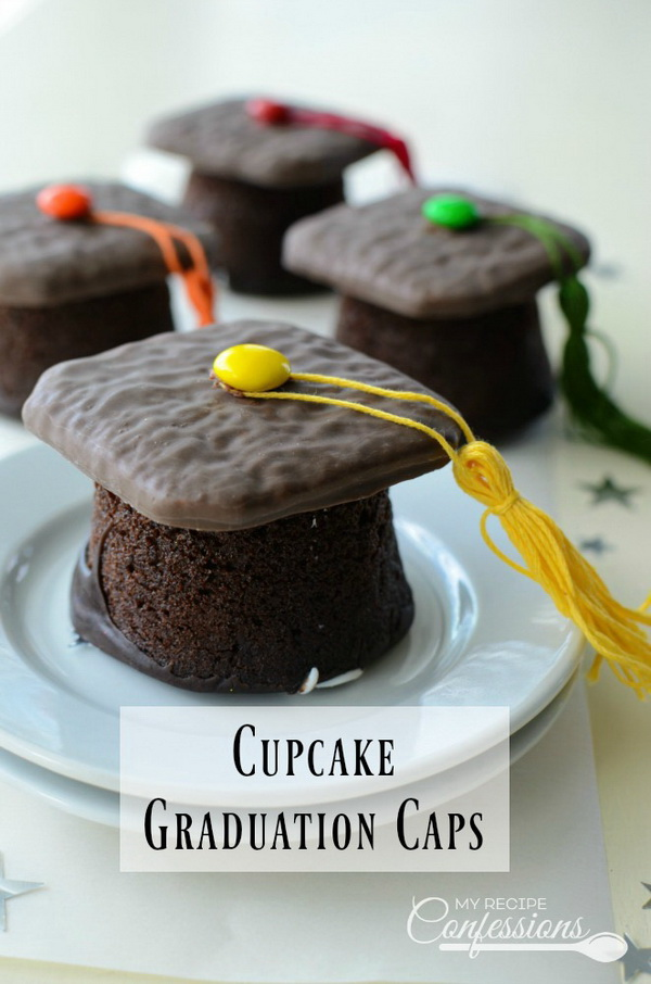 Cupcake Graduation Caps. It is super fun to make these adorable graduation cap cupcakes. It makes the perfect little homemade gift for the graduates or used as the party desserts for your graduation!
