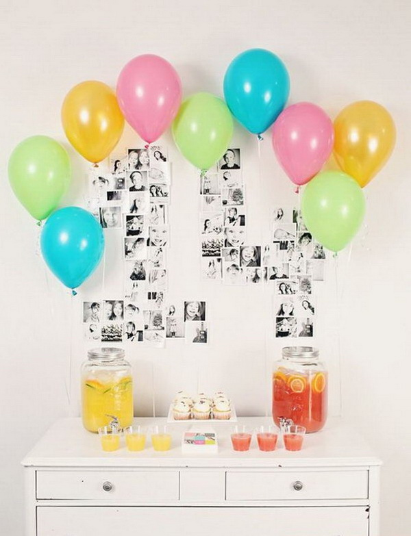 The Year in Photos Graduation Decor. Organize printed photos in the shape of your graduation year, then add festive-colored balloons for an added touch for your graduation decoration!