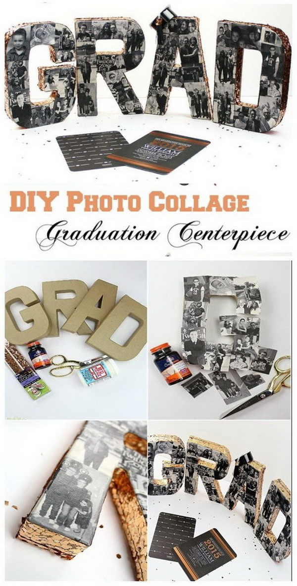 DIY Graduation Party Photo Collage. Another creative and decorative way to display your cherished photos during the collage with this fabulous and amazing GRAD lettered piece with photos.