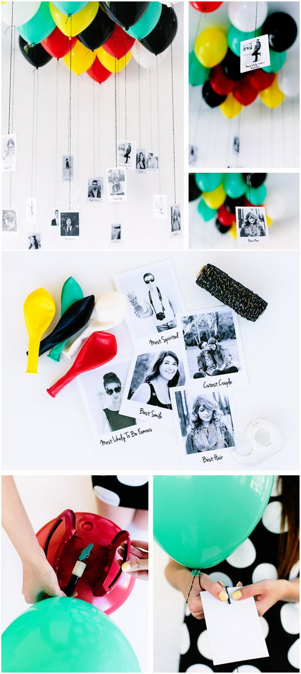 DIY Graduation Balloon Superlatives. Fill your ceiling with balloons that incorporate photos of you and your guests. A fun DIY graduation decor using balloons and photos!